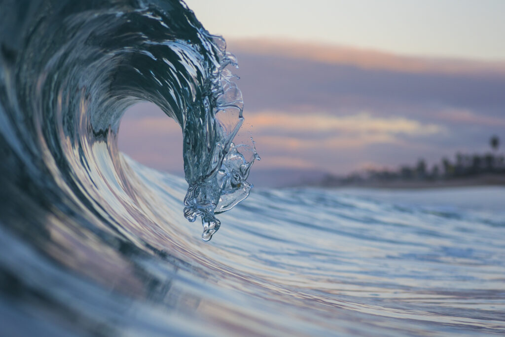 Photo of a wave breaking in Carlsbad, California